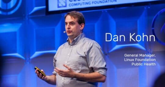 Dan Kohn speaks at a conference